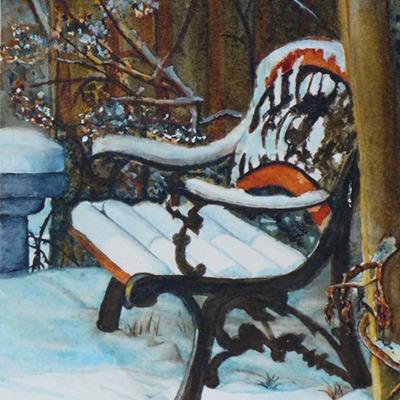 Backyard Bench by Charlene Nickels