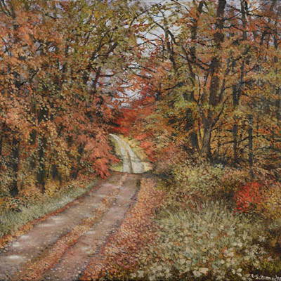 The Cottage Road In Autumn by Lynne Schumacher